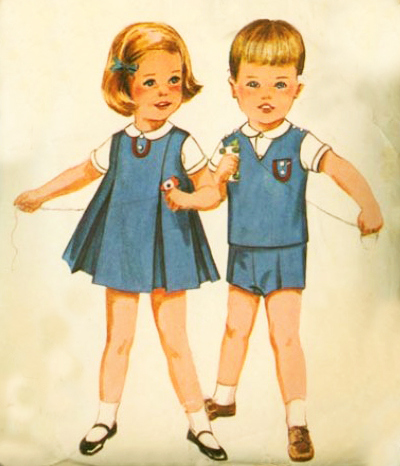 Girl Clothing on Vintage Clothing Pattern