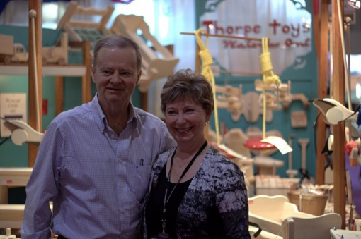 Jerry and Rosemary Thorpe in their booth at the One of a Kind Show in Toronto